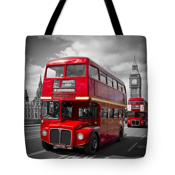 London Red Buses On Westminster Bridge Tote Bag by Melanie Viola