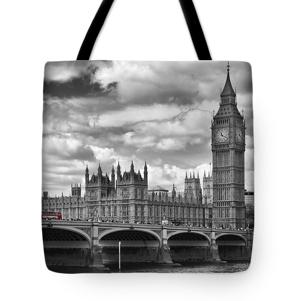 London River Thames And Red Buses On Westminster Bridge Tote Bag