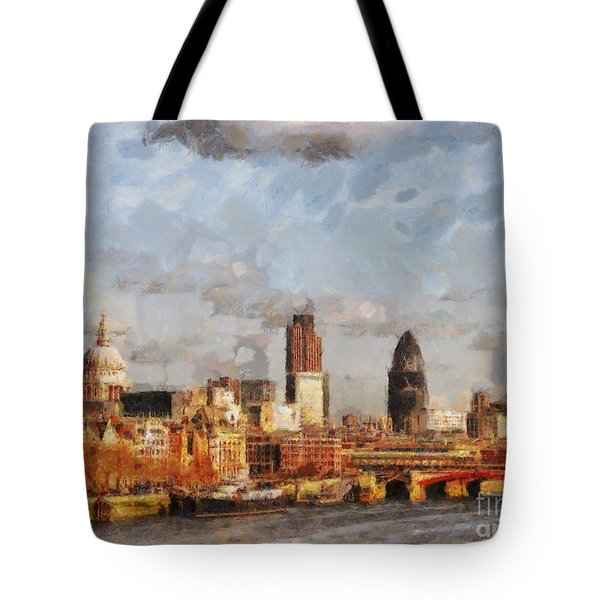 London Skyline From The River  Tote Bag by Pixel Chimp