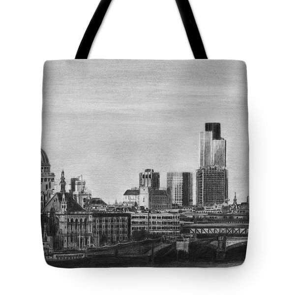 London Skyline Pencil Drawing Tote Bag