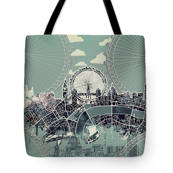 London Skyline Vintage Tote Bag
