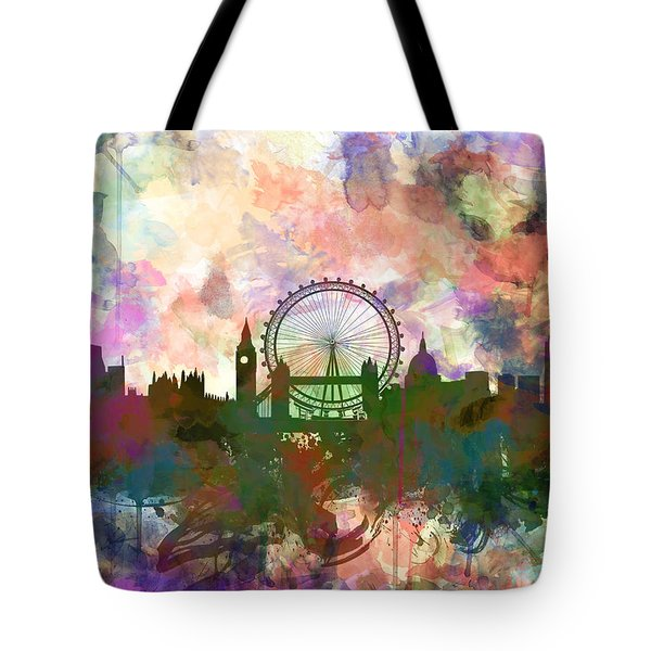 London Skyline Watercolor Tote Bag