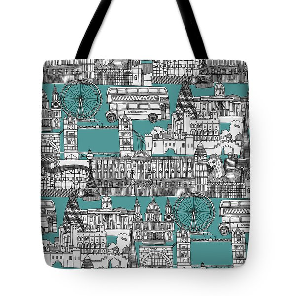London Toile Blue Tote Bag by Sharon Turner