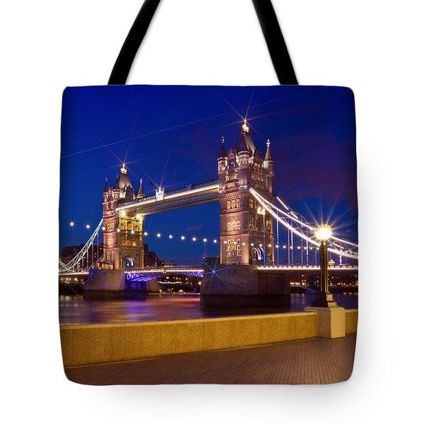 London Tower Bridge By Night Tote Bag by Melanie Viola