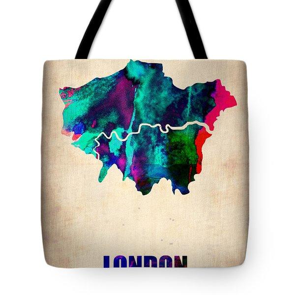 London Watercolor Map 2 Tote Bag by Naxart Studio