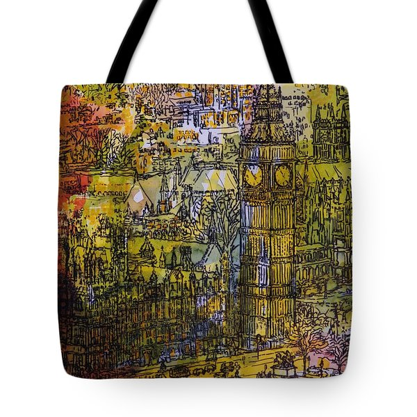 London, Westminster Pen & Ink With Wc On Paper Tote Bag