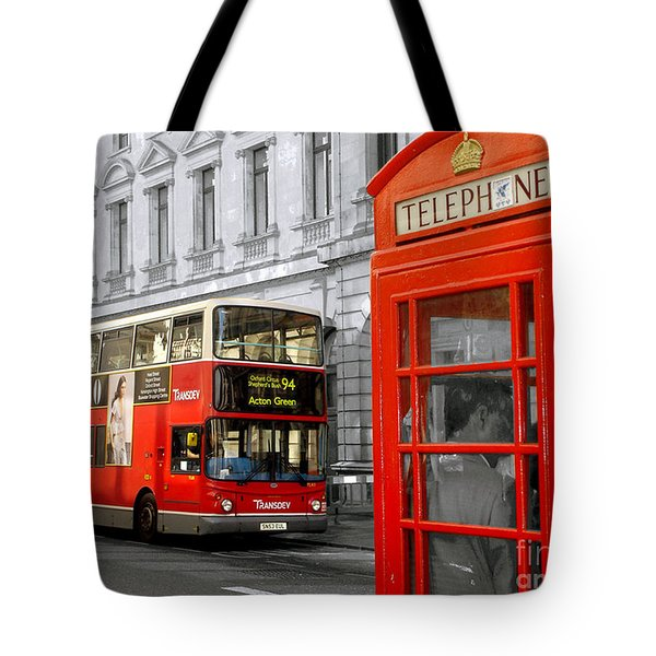 Tote Bag featuring the photograph London With A Touch Of Colour by Nina Ficur Feenan