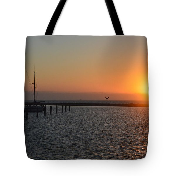 Lone Bird At The Marina Tote Bag