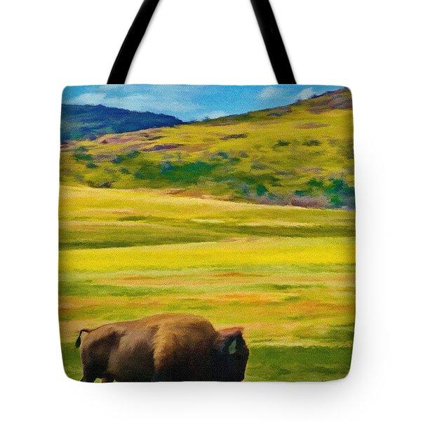 Lone Buffalo Tote Bag by Jeffrey Kolker