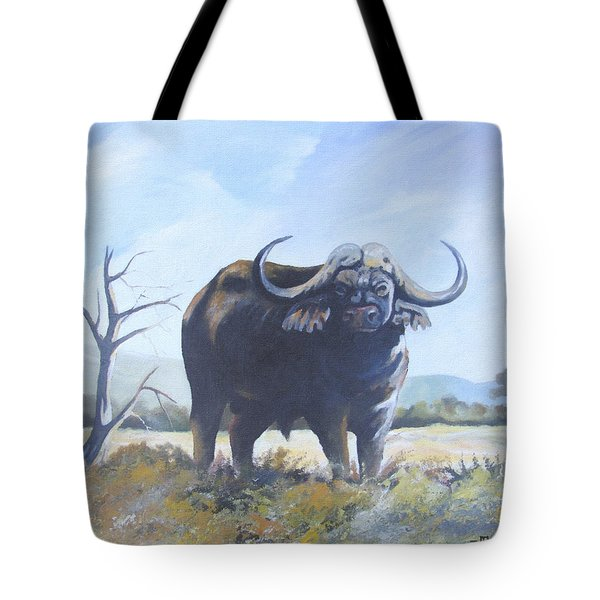 Tote Bag featuring the painting Lone Bull by Anthony Mwangi
