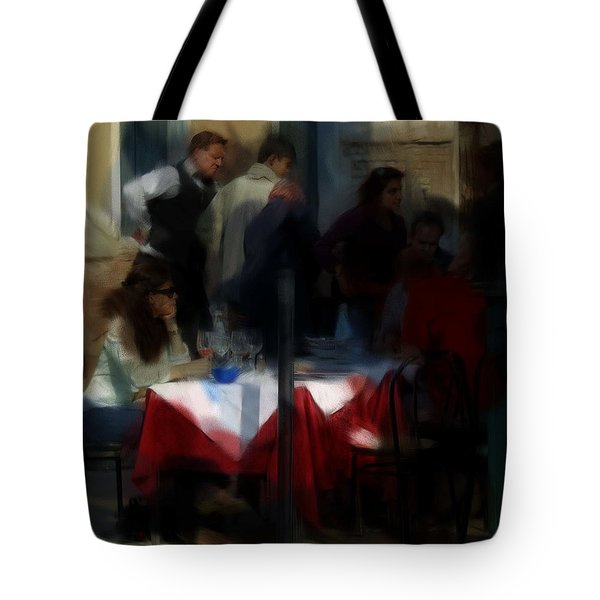 Tote Bag featuring the digital art Lone Diner by Ron Harpham