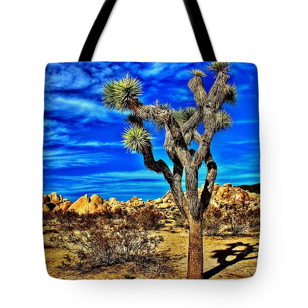 Tote Bag featuring the photograph Lone Joshua by Benjamin Yeager