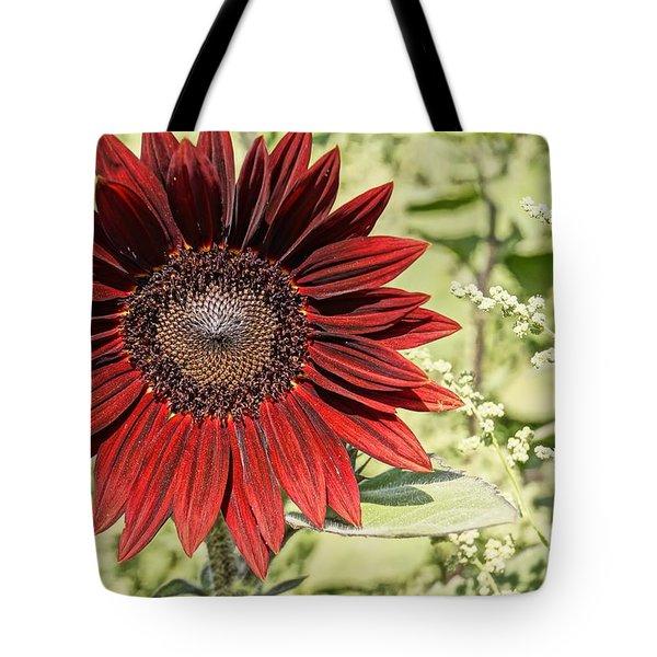 Lone Red Sunflower Tote Bag by Kerri Mortenson