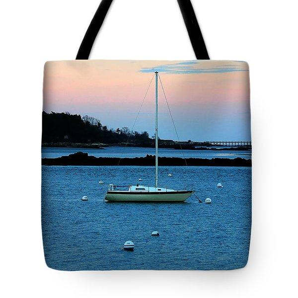 Lone Sailboat At York Maine Tote Bag