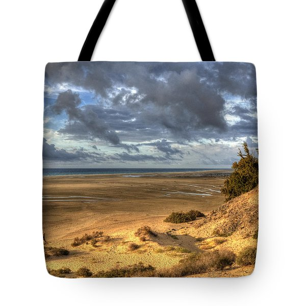 Tote Bag featuring the photograph Lone Stroller On A Vast Beach Under Dramatic Sky by Julis Simo