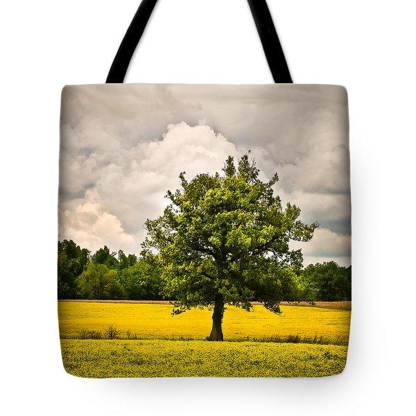 Lone Tree In Field Of Wildflowers 1b Tote Bag