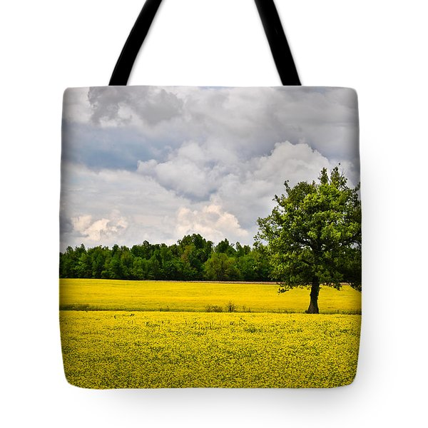 Tote Bag featuring the photograph Lone Tree In Field Of Wildflowers by Greg Jackson