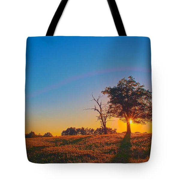 Tote Bag featuring the photograph Lonely Tree On Farmland At Sunset by Alex Grichenko