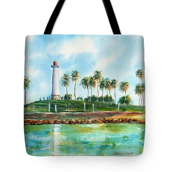 Tote Bag featuring the painting Long Beach Lighthouse  Version 2 by Debbie Lewis