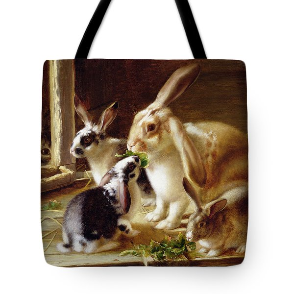 Long-eared Rabbits In A Cage Watched By A Cat Tote Bag