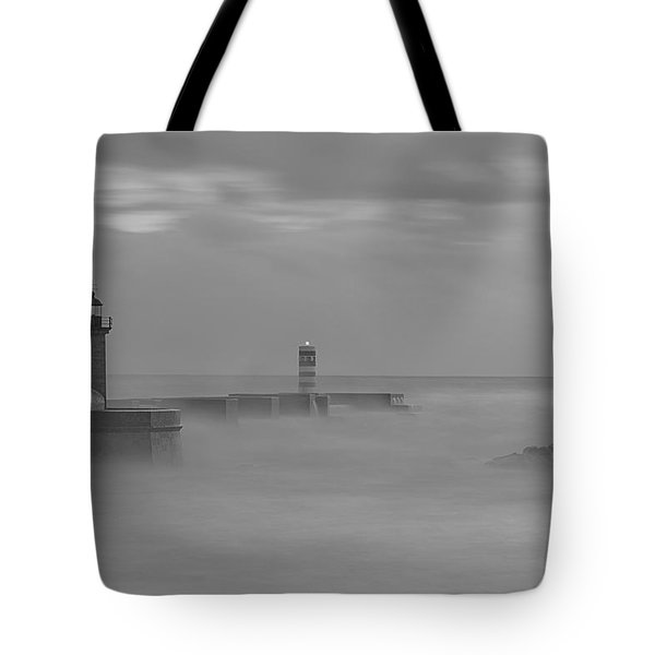 Long Exposure In Oporto In Bad Weather Tote Bag