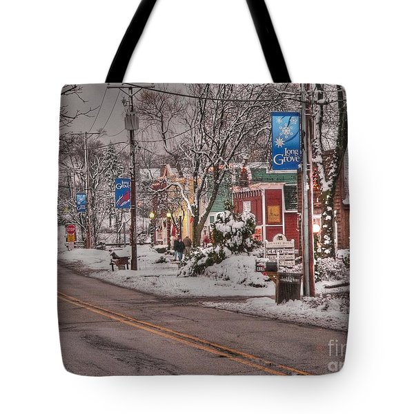 Long Grove In Snow Tote Bag by David Bearden