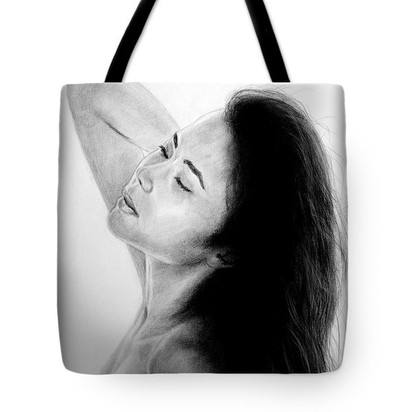 Tote Bag featuring the mixed media Long Haired Asian Beauty by Jim Fitzpatrick