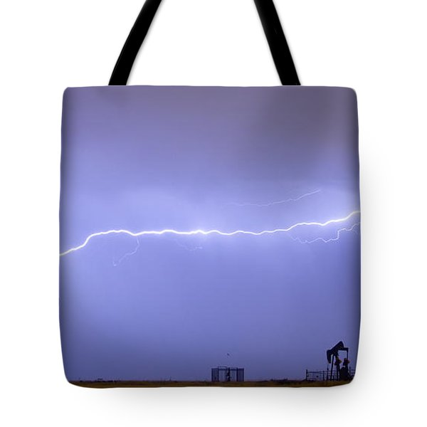 Long Lightning Bolt Strike Across Oil Well Country Sky Tote Bag by James BO  Insogna