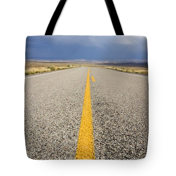 Long Lonely Road Tote Bag by Adam Romanowicz