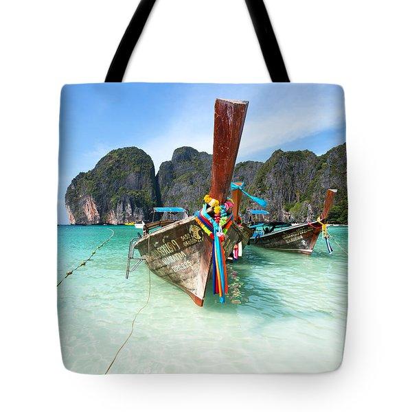Long Tail Boats At Maya Beach - Ko Phi Phi - Thailand Tote Bag