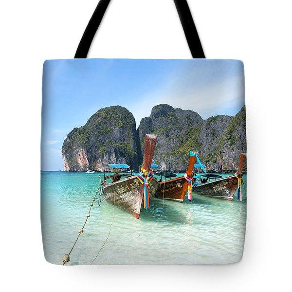 Long Tail Boats On Maya Bay Beach - Ko Phi Phi - Thailand Tote Bag