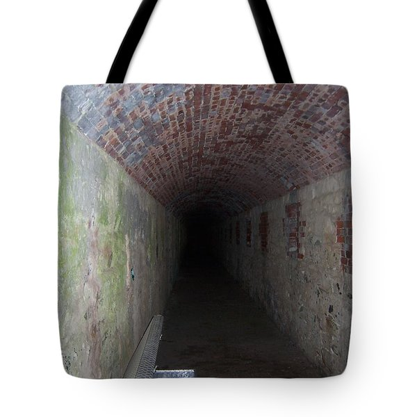 long tunnel in Ft Adams Tote Bag by Catherine Gagne