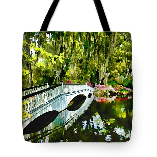 Long White Bridge Faux Painting Tote Bag