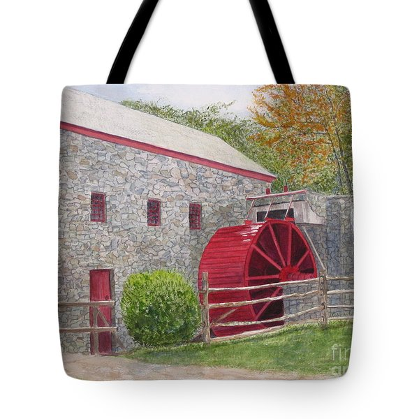 Tote Bag featuring the painting Longfellow's Gristmill by Carol Flagg