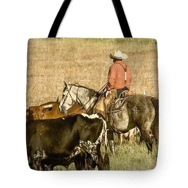 Tote Bag featuring the photograph Longhorn Round Up by Steven Bateson