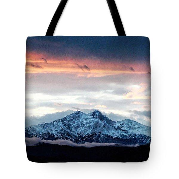 Longs Peak In Winter Tote Bag