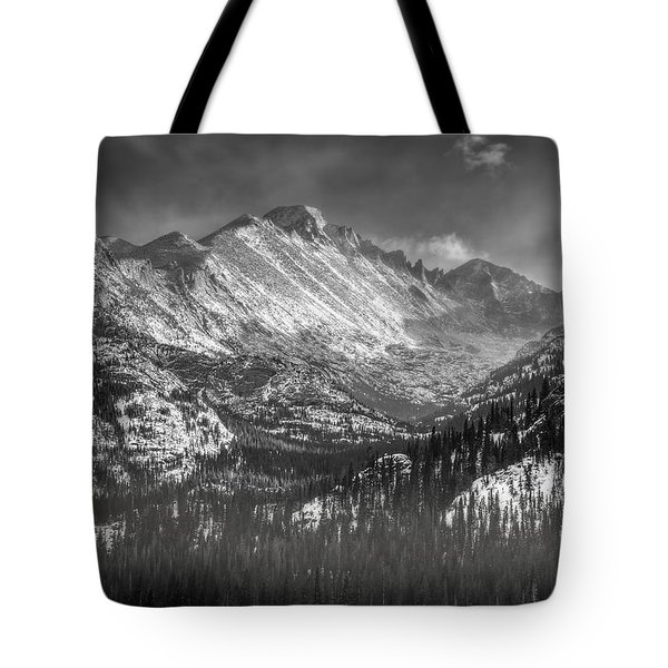 Longs Peak Rocky Mountain National Park Black And White Tote Bag by Ken Smith