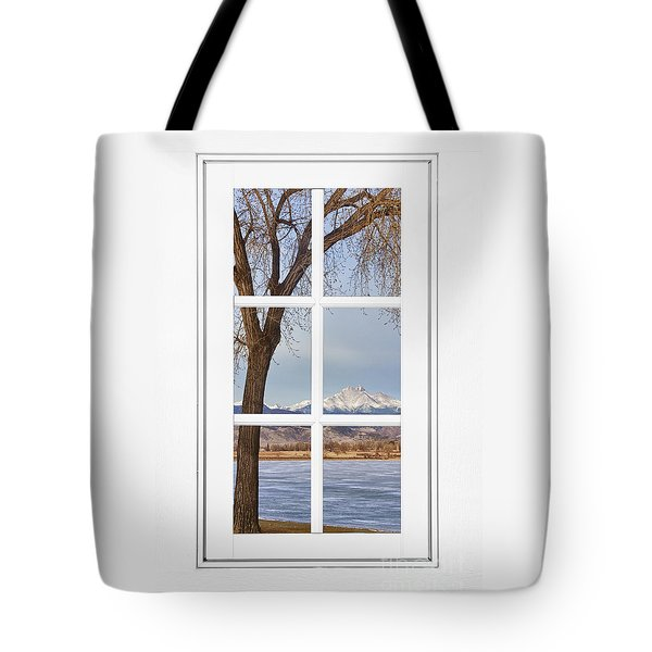 Longs Peak Winter View Through A White Window Frame Tote Bag by James BO  Insogna