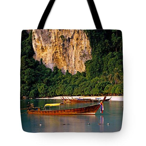 Longtail Boat In Ton Sai Bay, Phi Phi Tote Bag