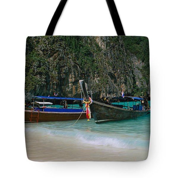 Longtail Boats Moored On The Beach, Ton Tote Bag