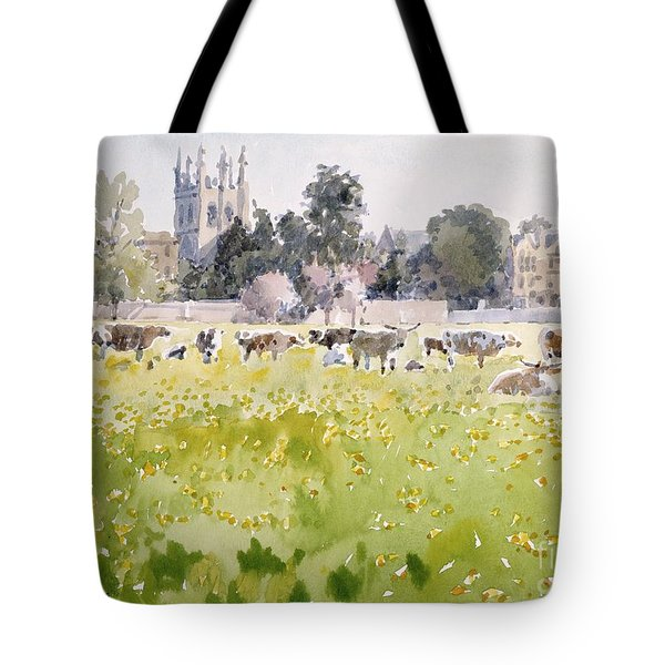 Looking Across Christ Church Meadows Tote Bag by Lucy Willis