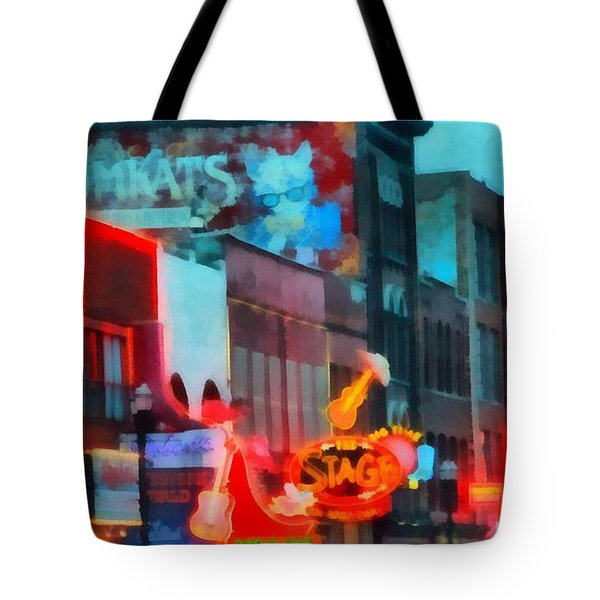 Looking Down Broadway In Nashville Tennessee Tote Bag by Dan Sproul