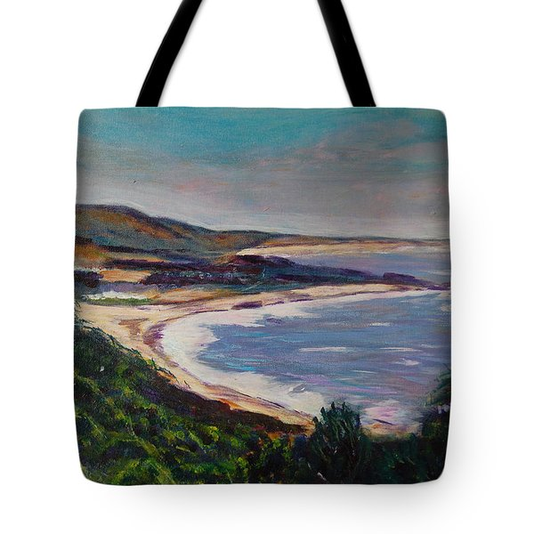 Looking Down On Half Moon Bay Tote Bag by Carolyn Donnell