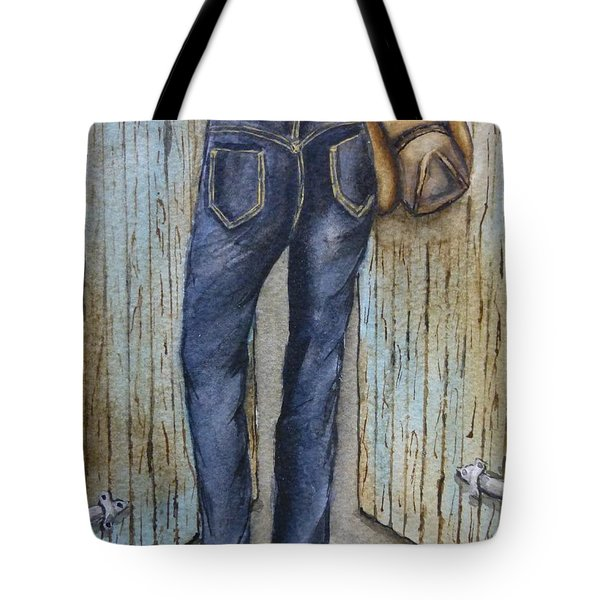 Tote Bag featuring the painting Blue Jeans A Hat And Looking Good by Kelly Mills