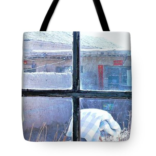 Tote Bag featuring the photograph Looking Out The Kitchen Door In February by Ethna Gillespie