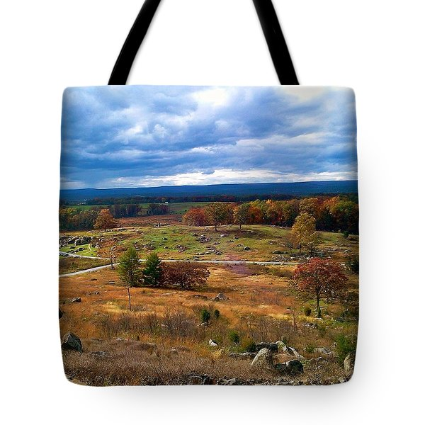 Looking Over The Gettysburg Battlefield Tote Bag