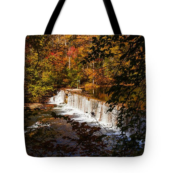 Looking Through Autumn Trees On To Waterfalls Fine Art Prints As Gift For The Holidays  Tote Bag by Jerry Cowart