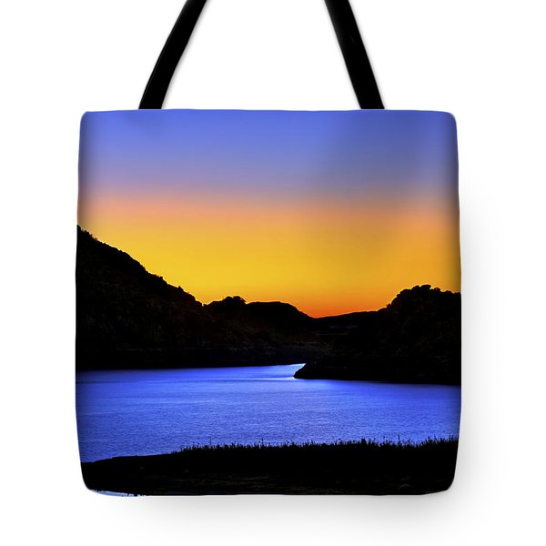Looking Through The Quartz Mountains At Sunrise - Lake Altus - Oklahoma Tote Bag