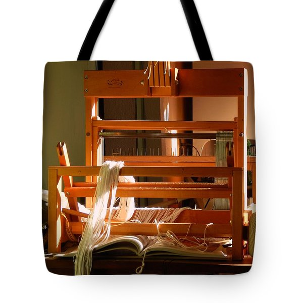 Loom In Winter Light Tote Bag by Aliceann Carlton