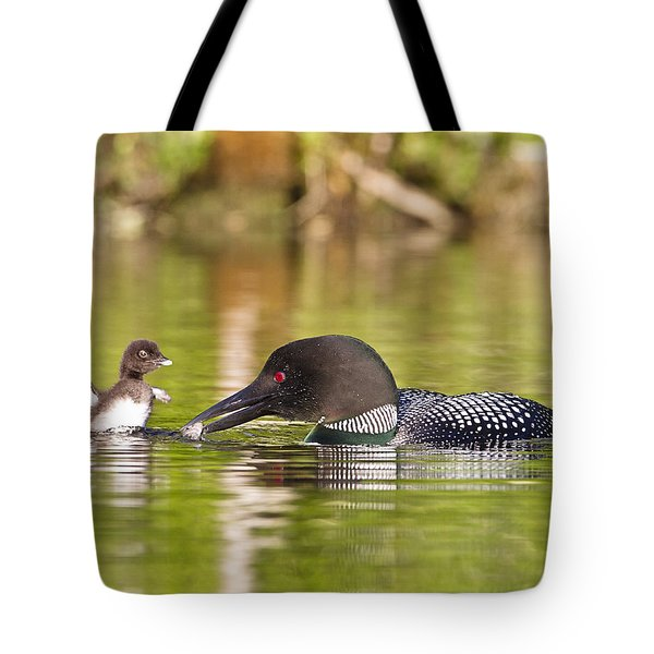 Loon Chick Excited For Breakfast Tote Bag